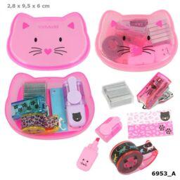 TOPModel mini írószer doboz CAT, világos rózsaszín