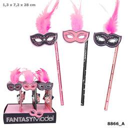 Fantasy Model ceruza maszkkal és tollakkal, sötét rózsaszín