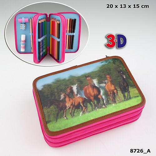 Horses Dreams 3 emeletes töltött tolltartó