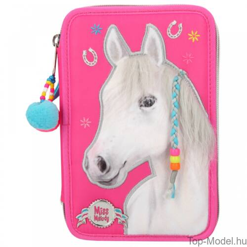 Miss Melody 3 emeletes töltött tolltartó Pink