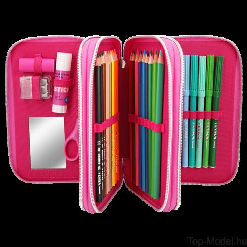 TOPModel 3 emeletes Töltött tolltartóTROPICAL pink