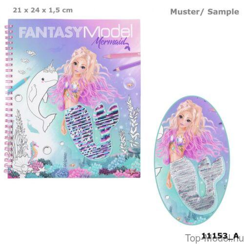 Kép 1/3 - Fantasy modell kifestőkönyv megfordítható flitterrel MERMAID