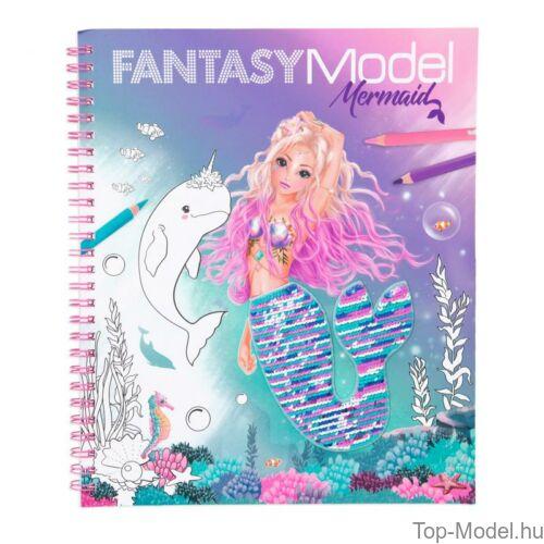 Kép 2/3 - Fantasy modell kifestőkönyv megfordítható flitterrel MERMAID