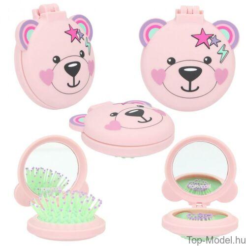 Kép 3/5 - TOPModel Összecsukható Hajkefe Tükörrel, rózsaszín