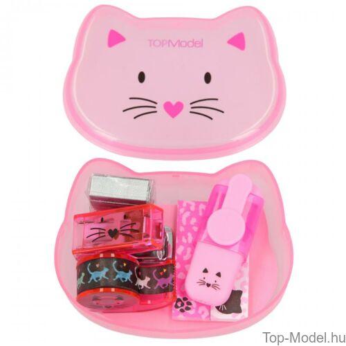 Kép 4/9 - TOPModel mini írószer doboz CAT, világos rózsaszín