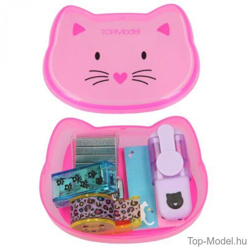 Kép 5/9 - TOPModel mini írószer doboz CAT, világos rózsaszín