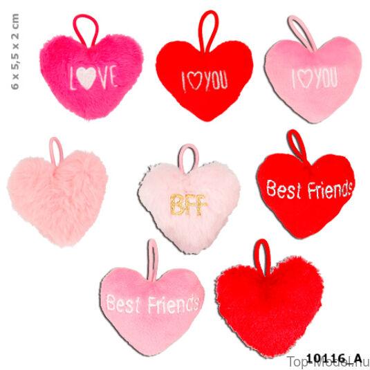 TOPModel Plüss szív medál, rózsaszín sima