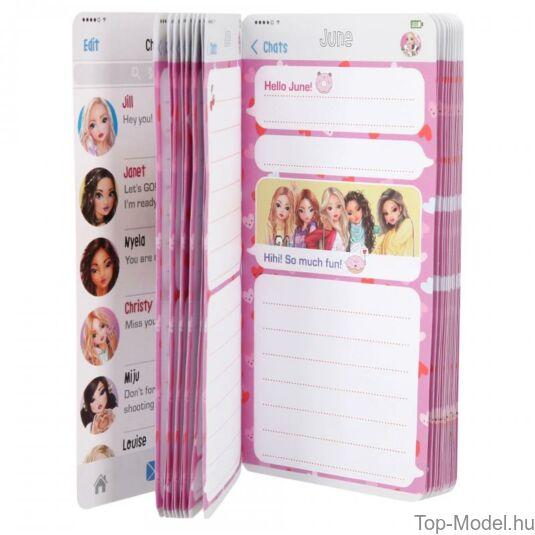 TopModel Mobil alakú notesz 3D-s előlappal, barna sapkás lány