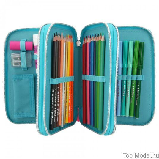 Miss Melody 3 em töltött tolltartó LED türkizkék