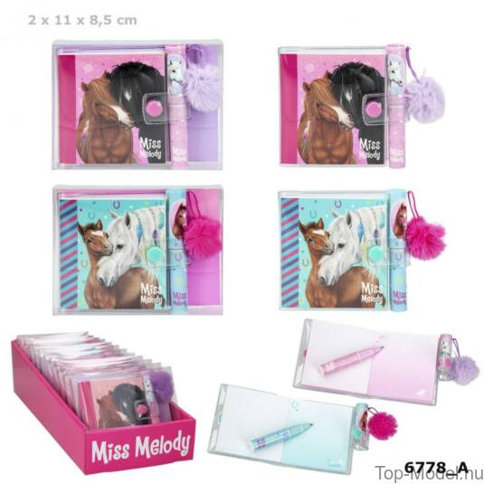 Miss Melody mini notesz golyóstollal, Rózsaszín