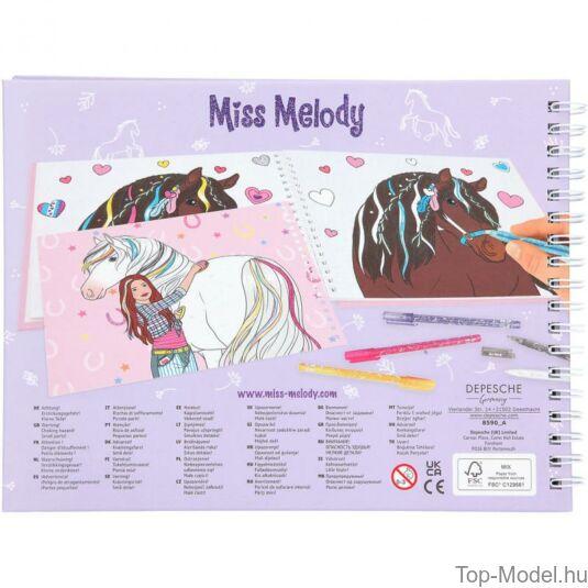 Miss Melody Kifestő Könyv Csillámos Zseléstollal